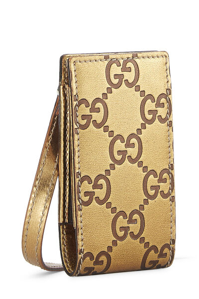 Gold Gucci Signature Leather Pouch Mini, , large