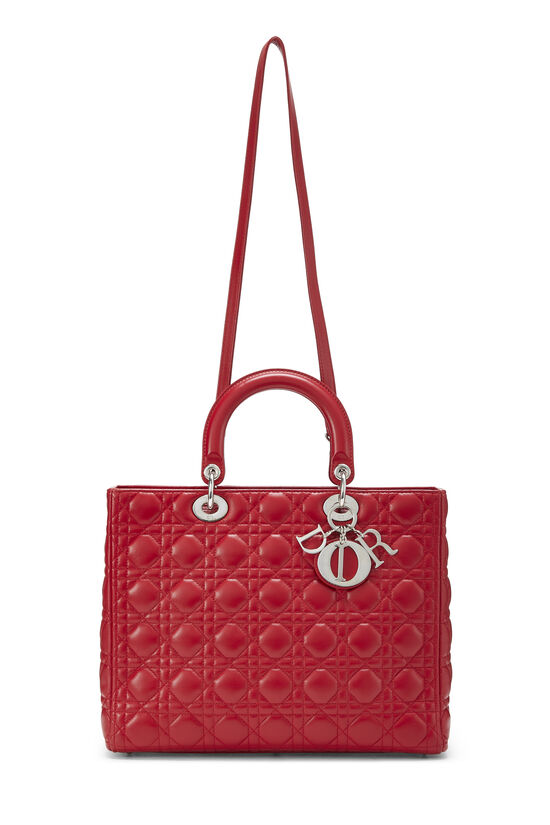 Red Cannage Quilted Lambskin Lady Dior Large, , large image number 6