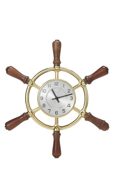 Brass Ship Helm Wall Clock