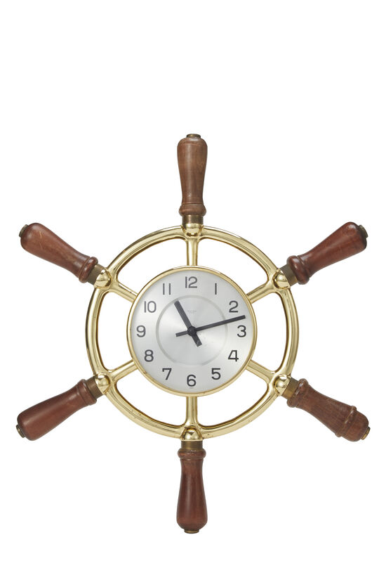 Brass Ship Helm Wall Clock, , large image number 0