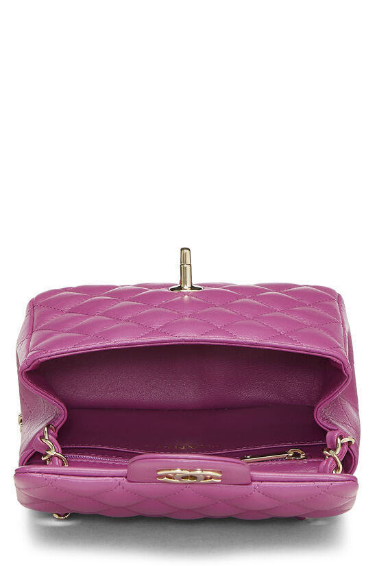 Purple Quilted Lambskin Classic Square Flap Mini, , large image number 5