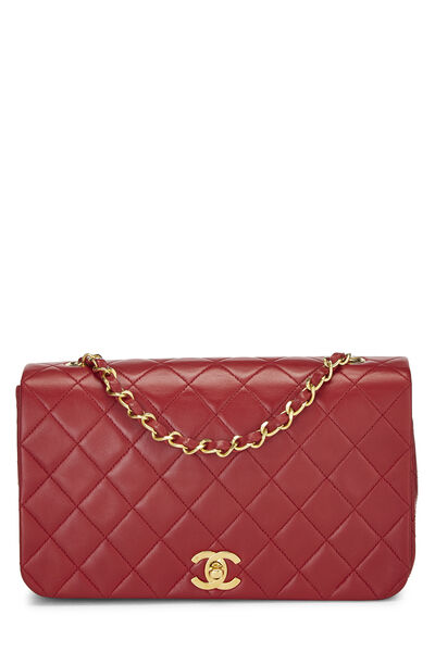 Red Quilted Lambskin Full Flap Small