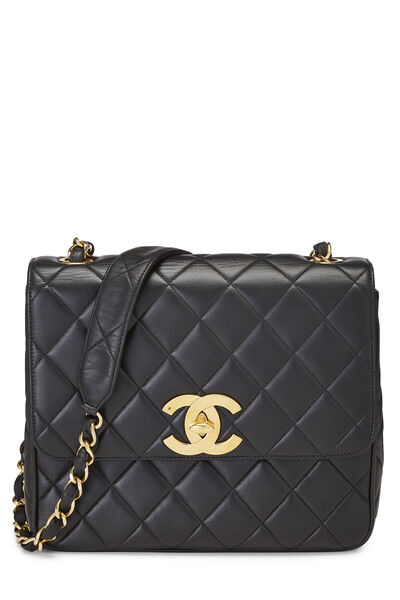 Black Quilted Lambskin Square Flap Bag