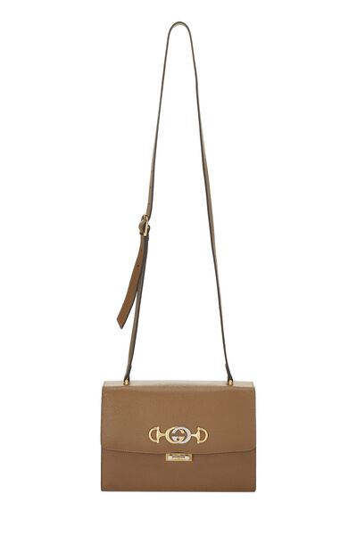 Brown Leather Zumi Shoulder Bag Small, , large