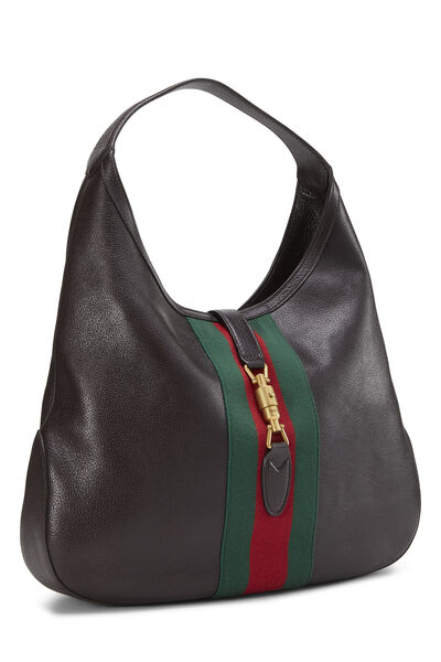 Brown Leather Web Jackie Soft Hobo Large, , large