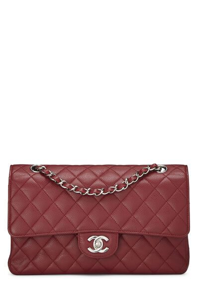 Red Quilted Caviar Classic Double Flap Medium