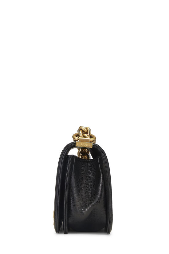 Black Quilted Caviar Boy Bag Small, , large image number 3