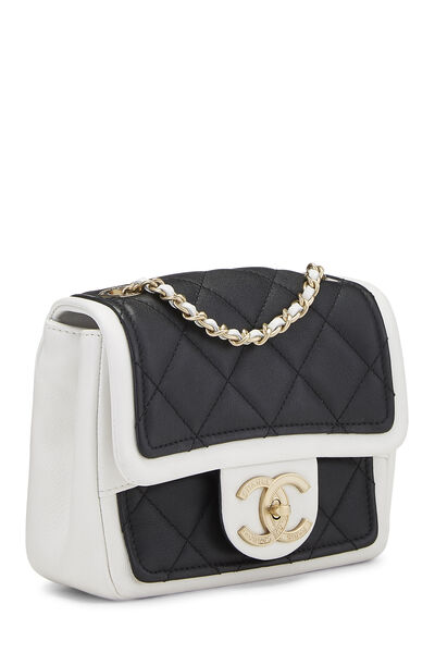 Black & White Quilted Lambskin Classic Square Flap Mini, , large