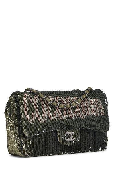 Paris-Cuba Olive Sequin Classic Flap Bag Medium, , large