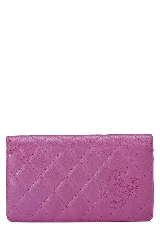 Purple Quilted Caviar Yen Wallet, , large image number 0