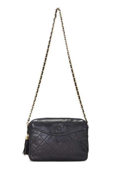 Black Lambskin Pocket Camera Bag Medium, , large