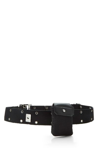 Black Oblique Canvas Belt Bag