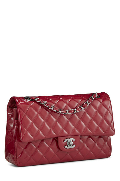 Red Quilted Patent Leather Classic Double Flap Medium, , large