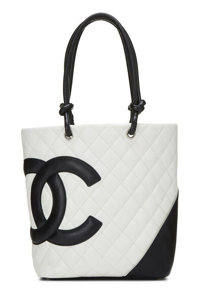 White Quilted Calfskin Cambon Tote Small