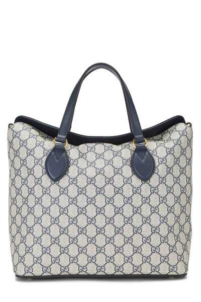 Navy GG Supreme Canvas Linea Fold Over Bag