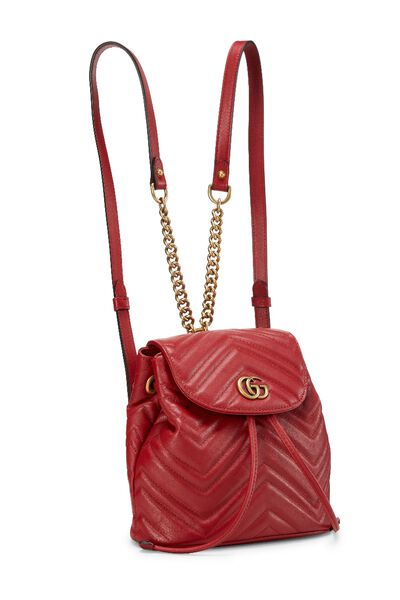 Red Leather 'GG' Marmont Backpack Small, , large
