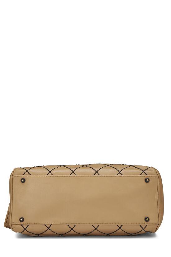 Beige Leather Wild Stitch Boston Bag, , large image number 4