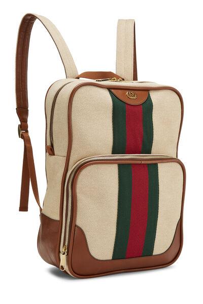 Beige Canvas Web Backpack, , large