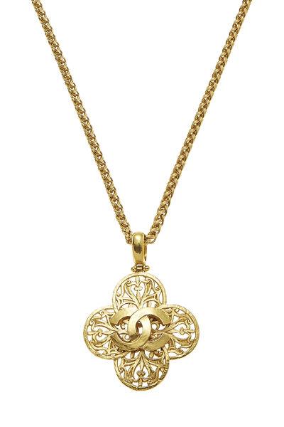 Gold 'CC' Fretwork Necklace, , large