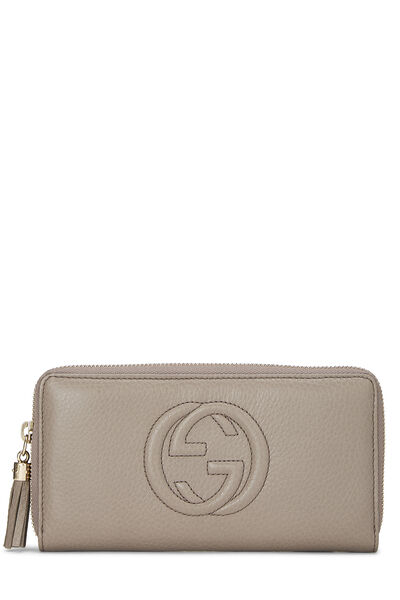Grey Leather Soho Zip Wallet