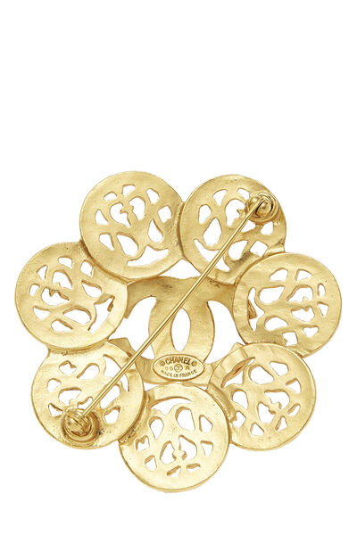 Gold 'CC' Fretwork Flower PIn, , large