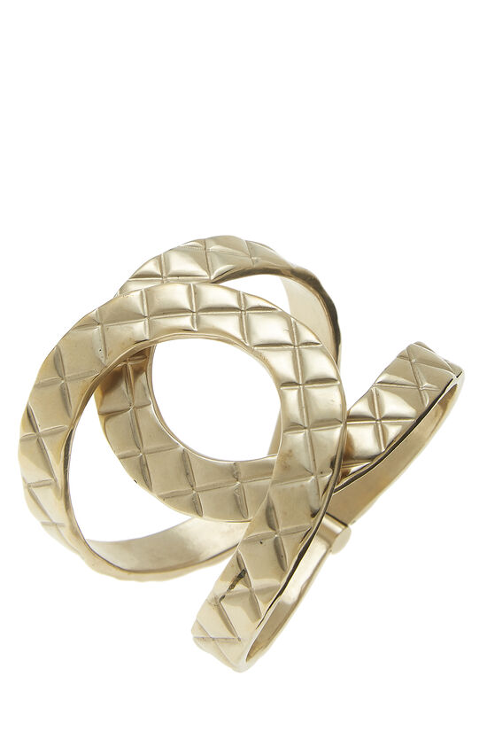 Gold Quilted Interlocking Cuff, , large image number 0
