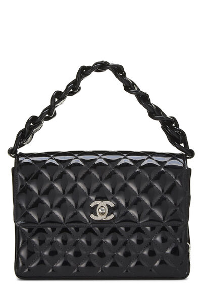 Black Quilted Patent Leather Handbag Small