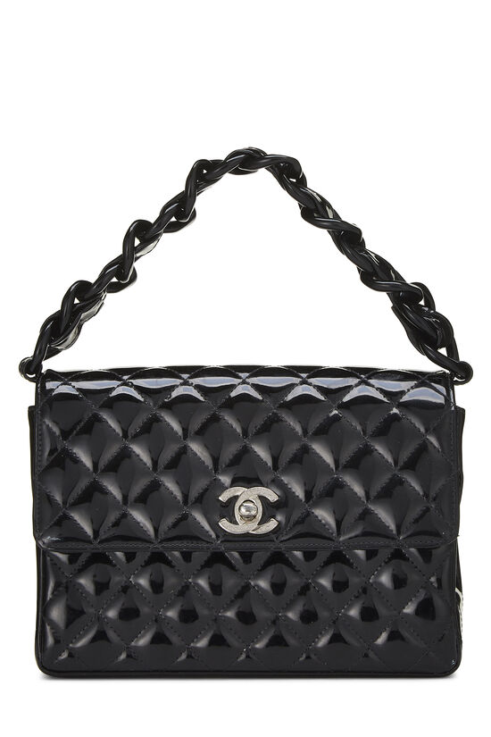 Black Quilted Patent Leather Handbag Small, , large image number 0