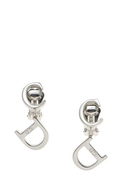 Silver Logo Dangle Earrings