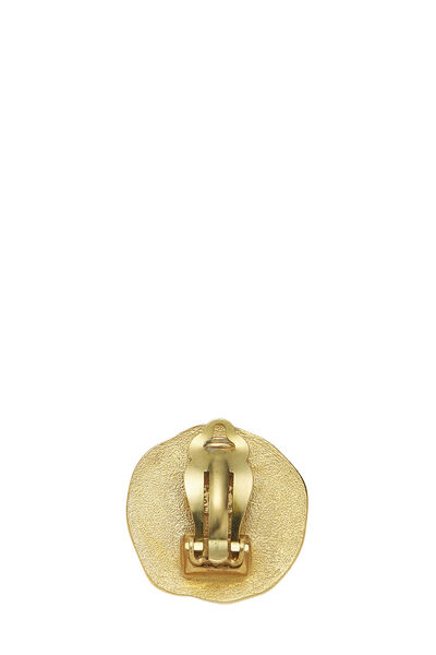 Gold 'CC' Round Earrings, , large