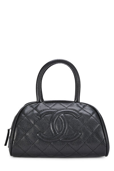 Black Quilted Caviar Bowler Small
