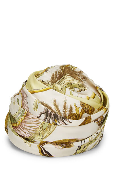Cream Silk Turban Hat, , large