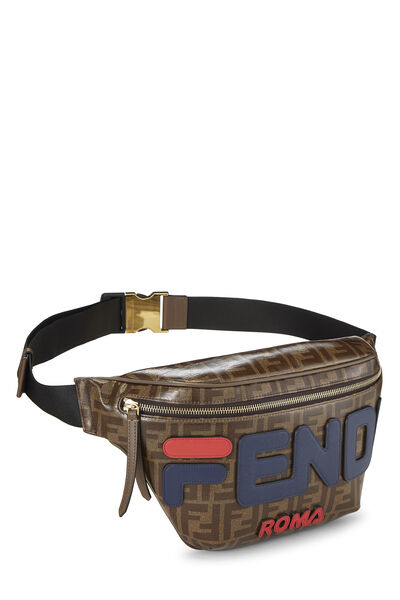 Fendi x Fila Brown Coated Zucca Spalmati Mania Belt Bag, , large
