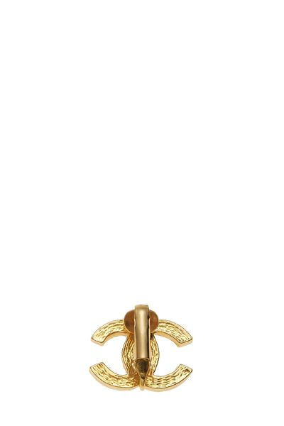 Gold & Crystal 'CC' Earrings Small, , large
