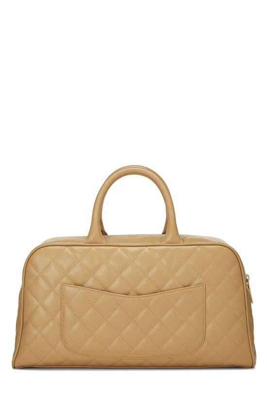 Beige Quilted Caviar Bowler, , large image number 3