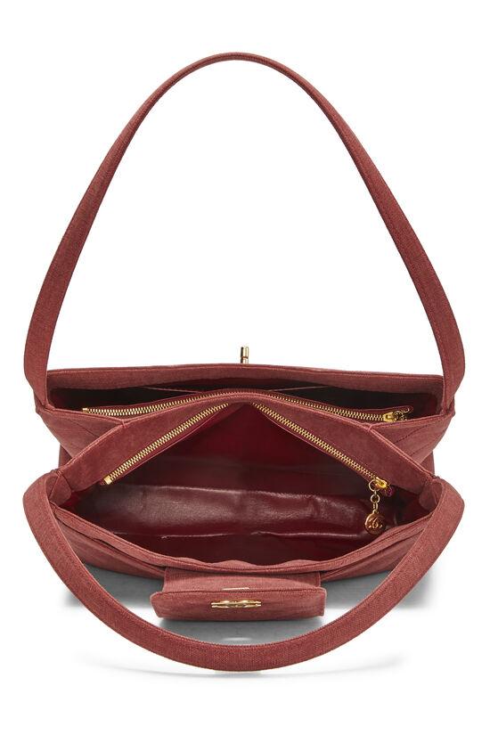 Red Quilted Canvas Shoulder Bag Large, , large image number 5