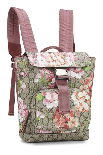 Pink GG Blooms Supreme Canvas Backpack Small, , large