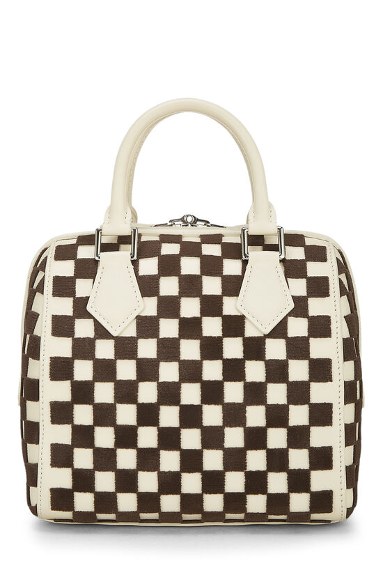 Cream & Brown Damier Cubic Speedy Cube PM, , large image number 2