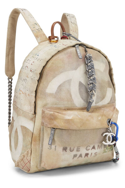 Beige Canvas Graffiti Backpack, , large