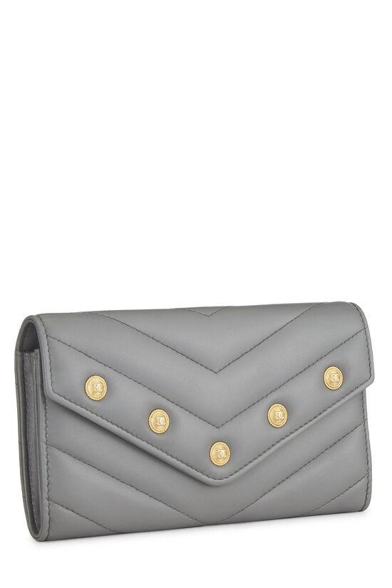Grey Chevron Lambskin Envelope Wallet, , large image number 1