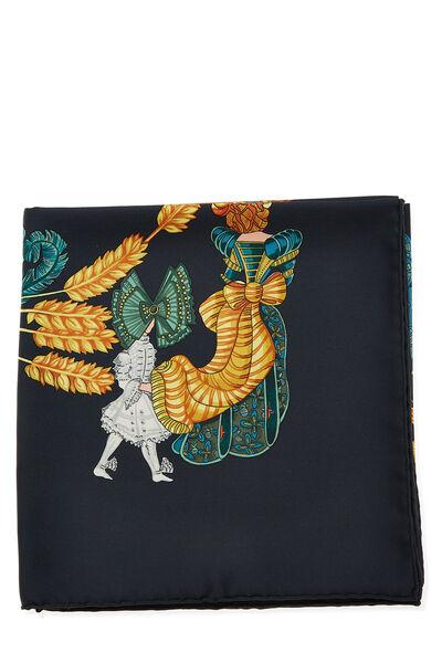 Black & Multicolor 'Chapeau' Silk Scarf 90, , large