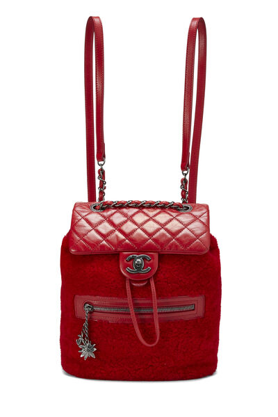 Red Quilted Calfskin & Faux Shearling Mountain Backpack