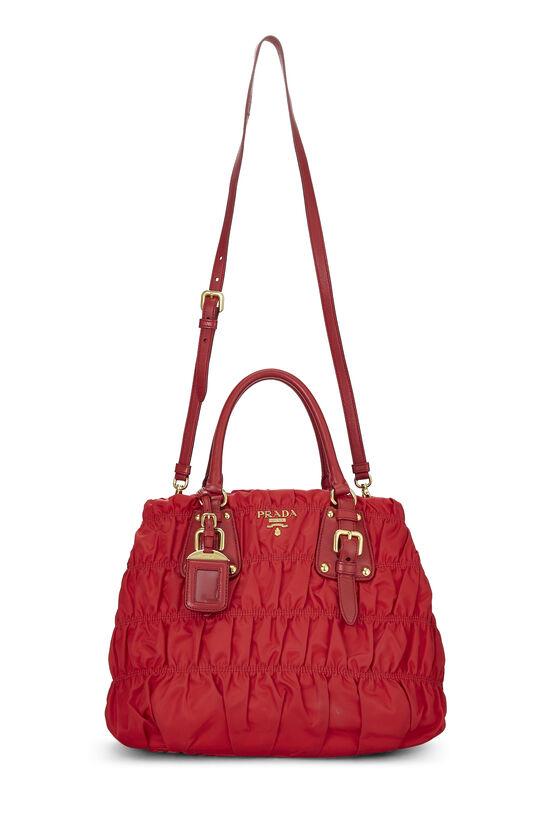 Red Nappa Gaufre Shoulder Bag, , large image number 6
