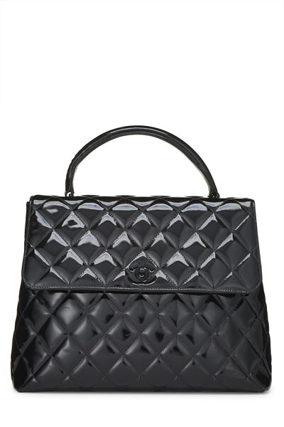 Black Quilted Patent Leather Kelly Jumbo