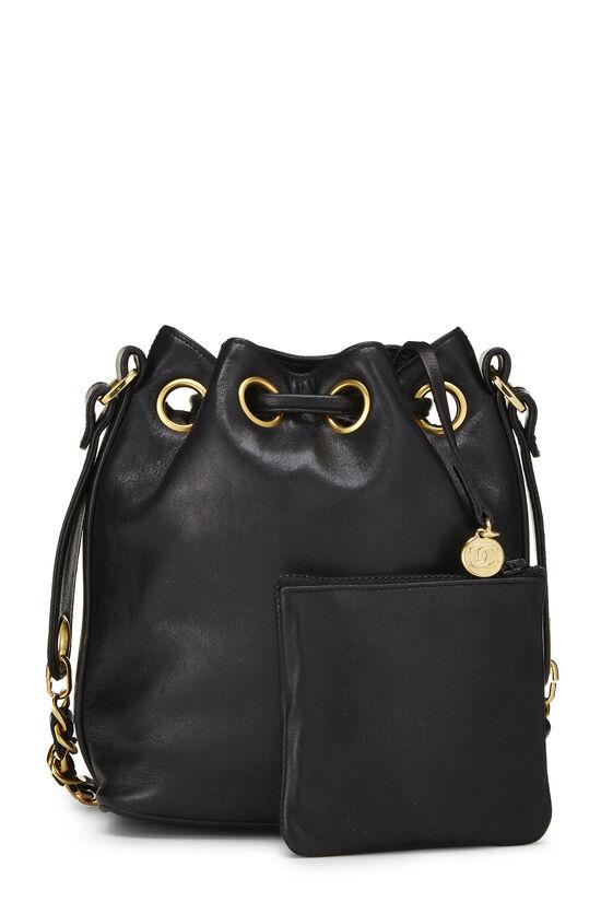 Black Lambskin 'CC' Bucket Bag Small, , large image number 4