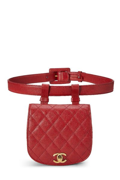 Red Quilted Caviar Belt Bag