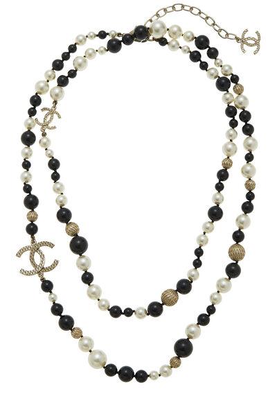 Black & White Faux Pearl 'CC' Necklace