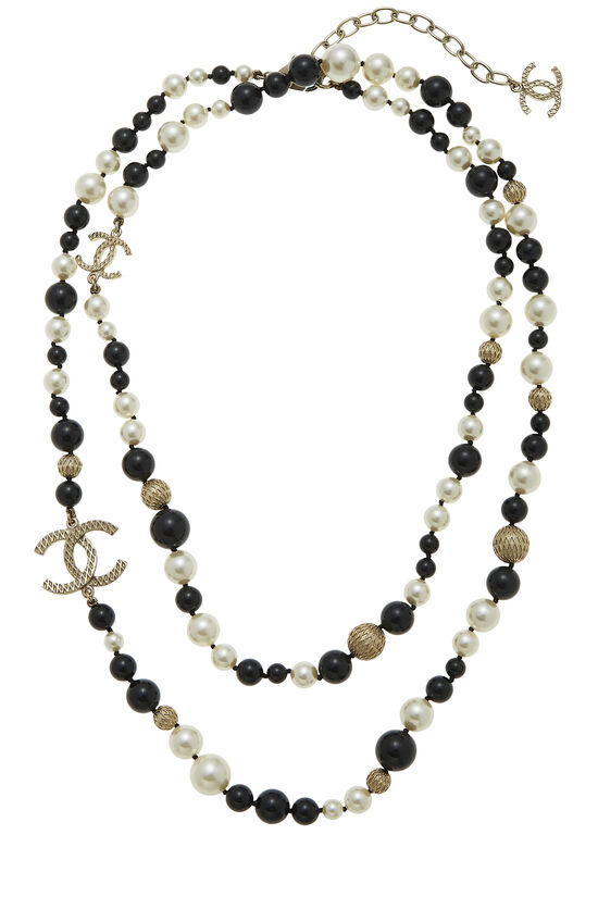 Black & White Faux Pearl 'CC' Necklace, , large image number 0