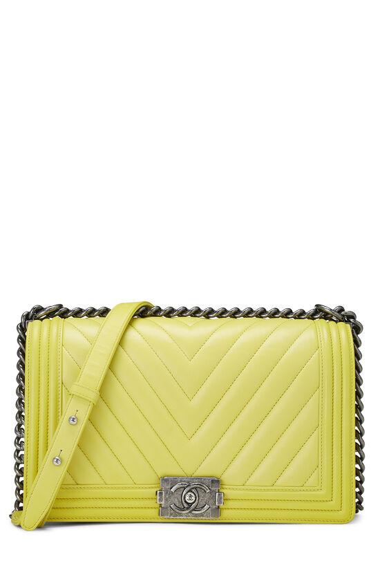 Yellow Chevron Lambskin Boy Bag Medium, , large image number 0