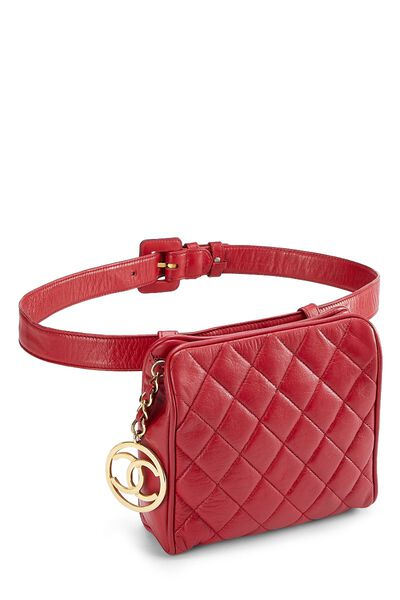 Red Quilted Lambskin Belt Bag 30, , large